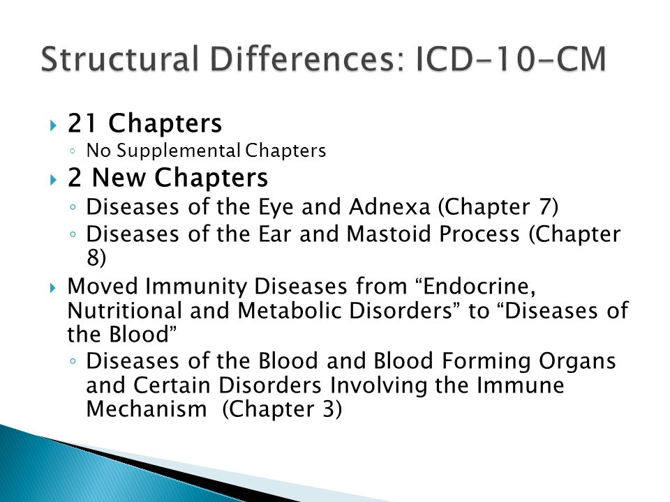 Structural Differences: ICD-10-CM