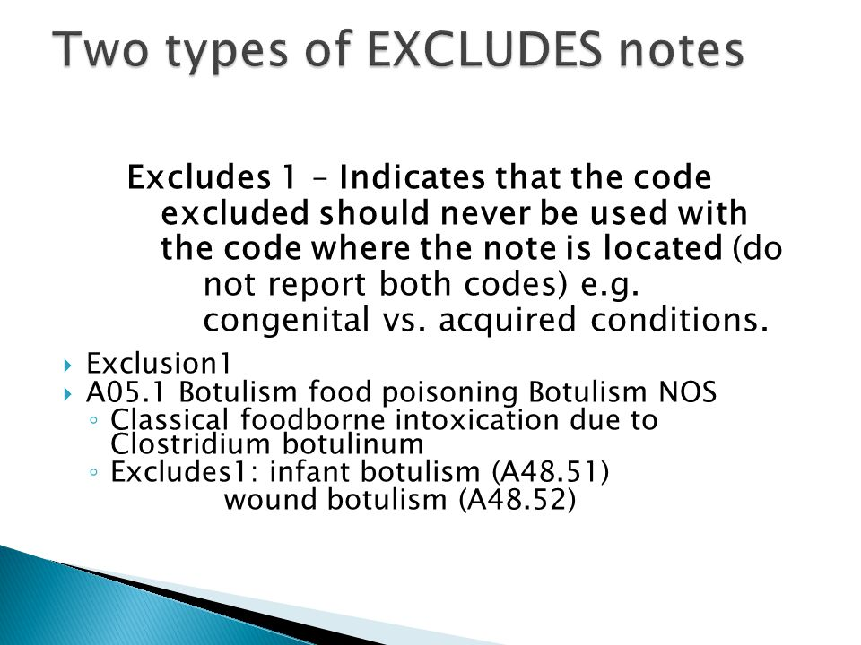 Two types of EXCLUDES notes