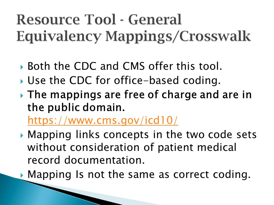 Resource Tool - General Equivalency Mappings/Crosswalk