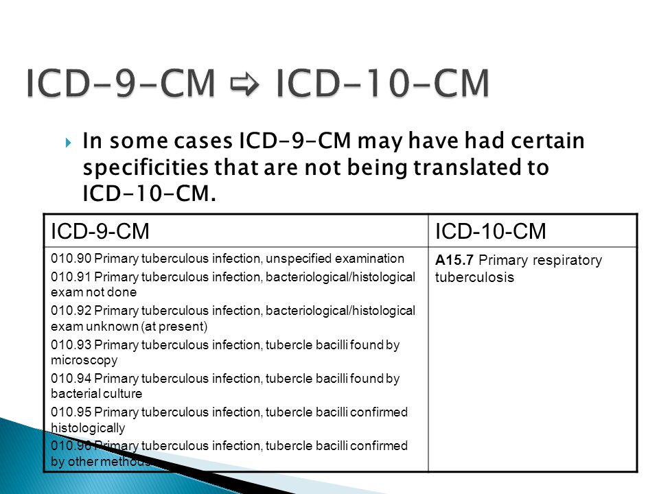 ICD-9-CM  ICD-10-CM In some cases ICD-9-CM may have had certain specificities that are not being translated to ICD-10-CM.