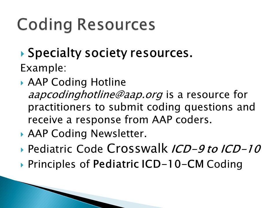 Coding Resources Specialty society resources.
