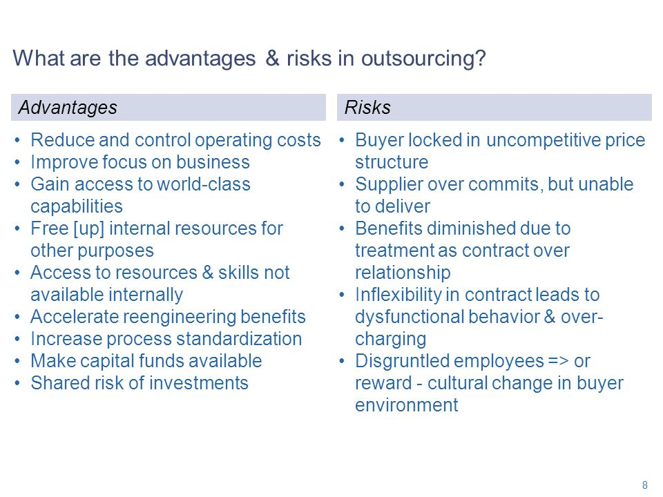 What are the advantages & risks in outsourcing