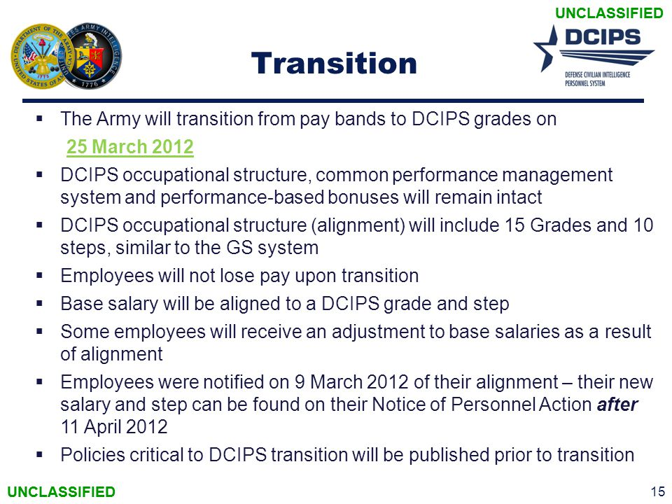 Transition The Army will transition from pay bands to DCIPS grades on