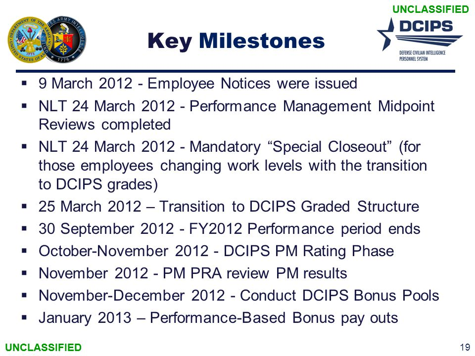 Key Milestones 9 March 2012 - Employee Notices were issued