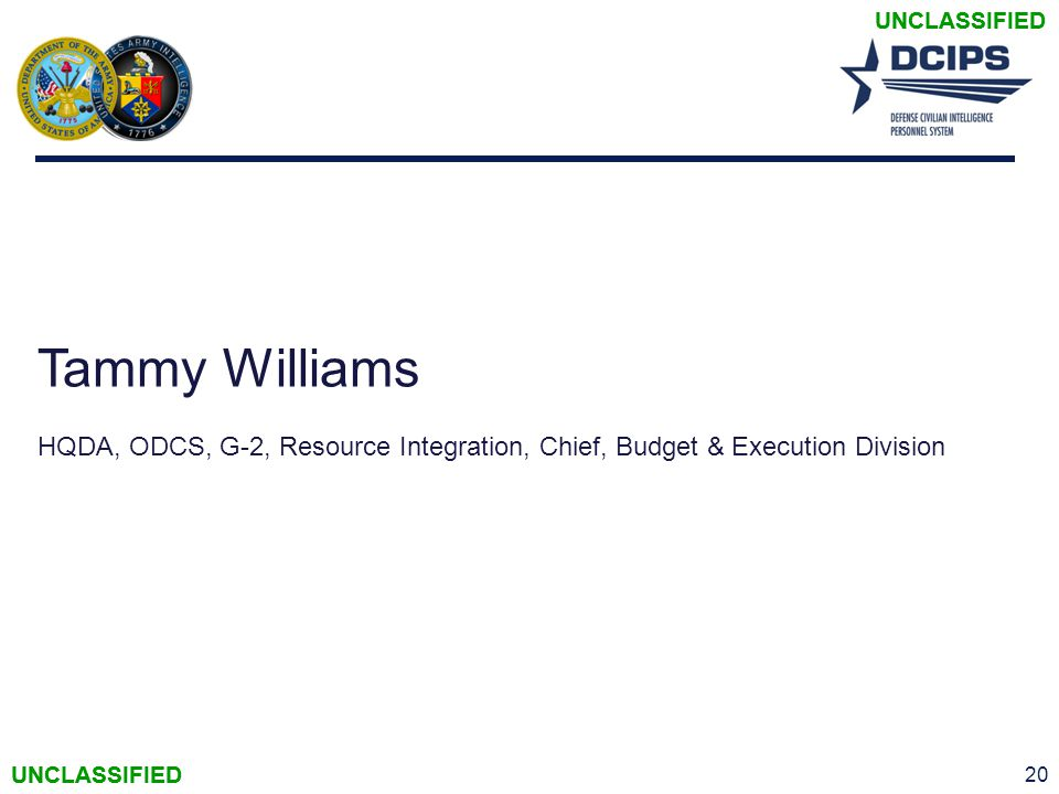 UNCLASSIFIED Tammy Williams. HQDA, ODCS, G-2, Resource Integration, Chief, Budget & Execution Division.