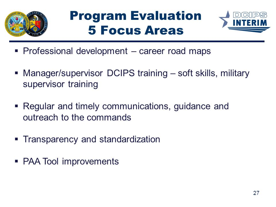 Program Evaluation 5 Focus Areas