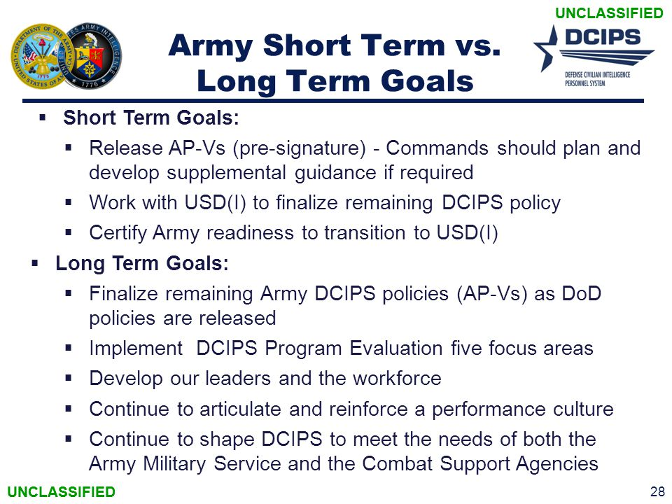 Army Short Term vs. Long Term Goals
