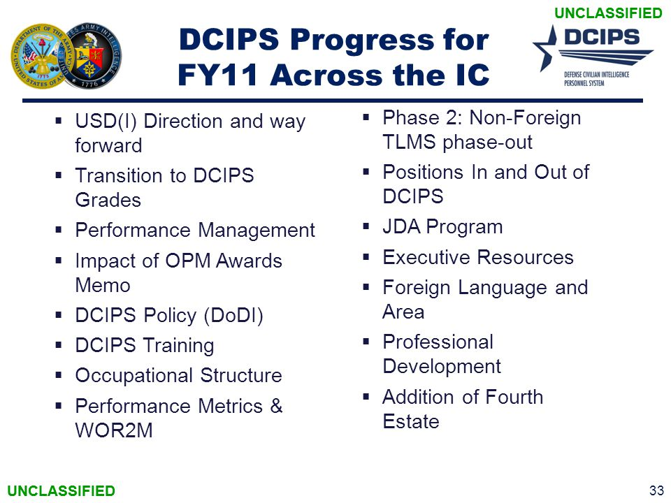 DCIPS Progress for FY11 Across the IC