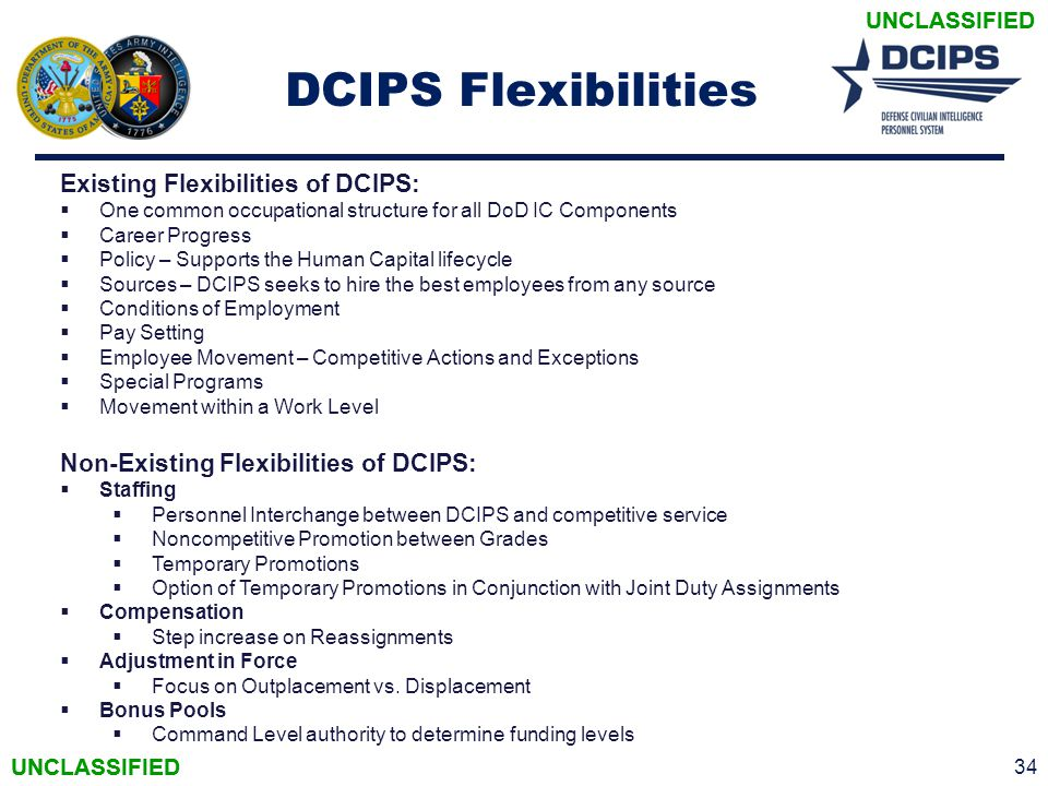 DCIPS Flexibilities Existing Flexibilities of DCIPS: