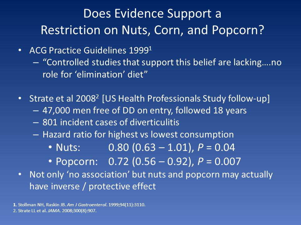 Does Evidence Support a Restriction on Nuts, Corn, and Popcorn