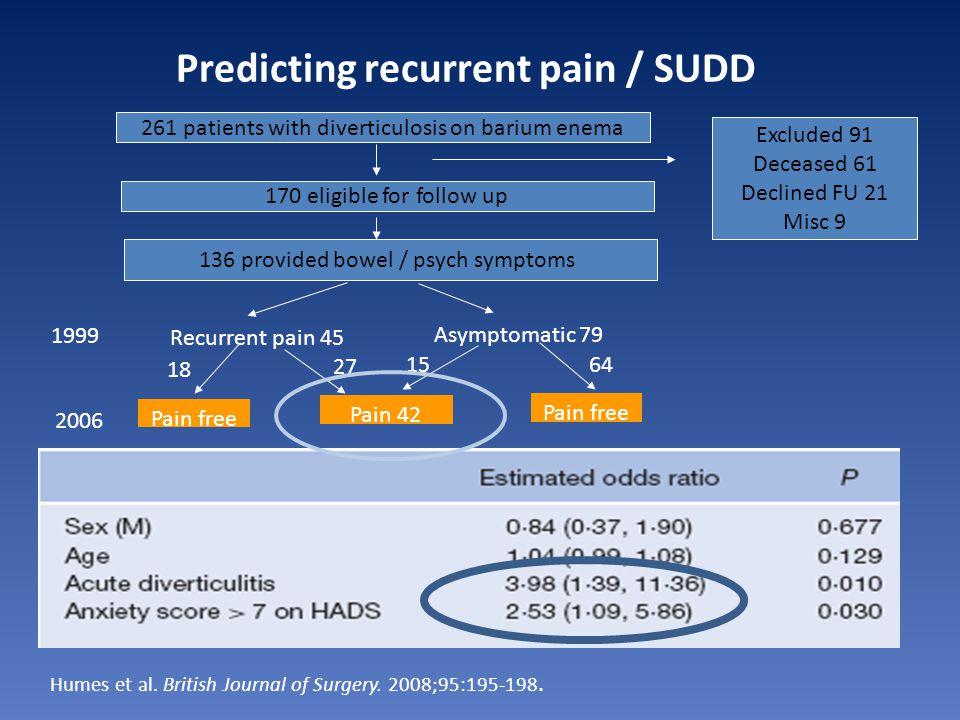 Predicting recurrent pain / SUDD