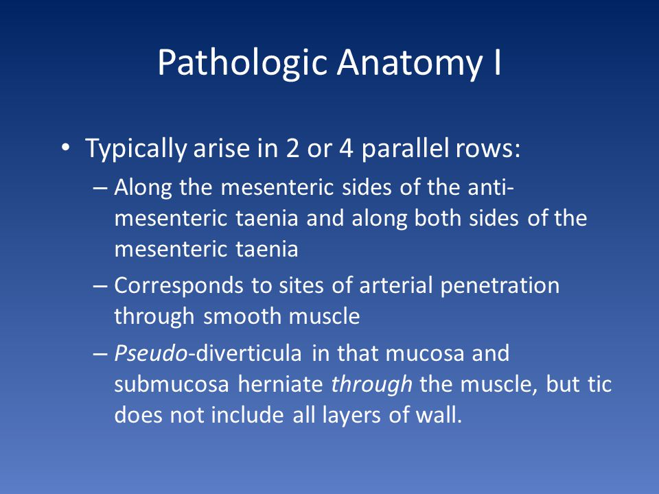 Pathologic Anatomy I Typically arise in 2 or 4 parallel rows: