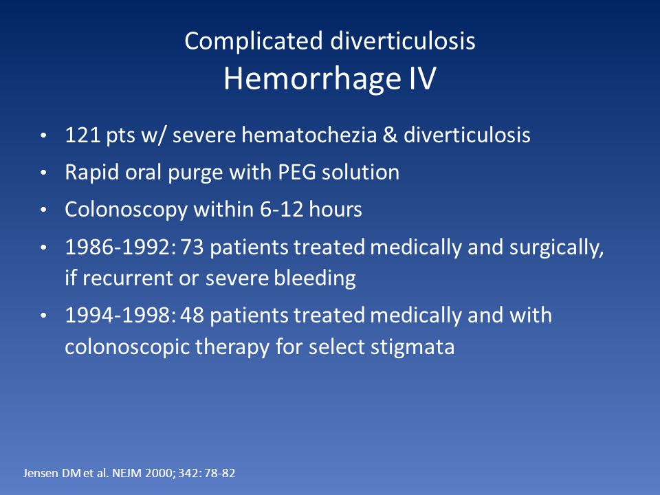 Complicated diverticulosis Hemorrhage IV