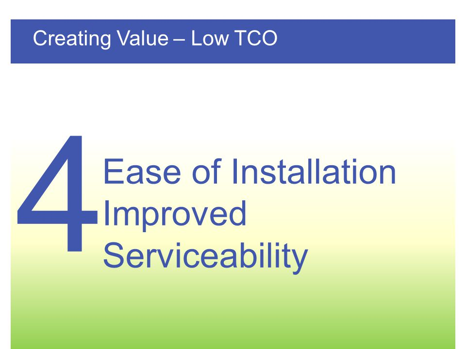 4 Ease of Installation Improved Serviceability