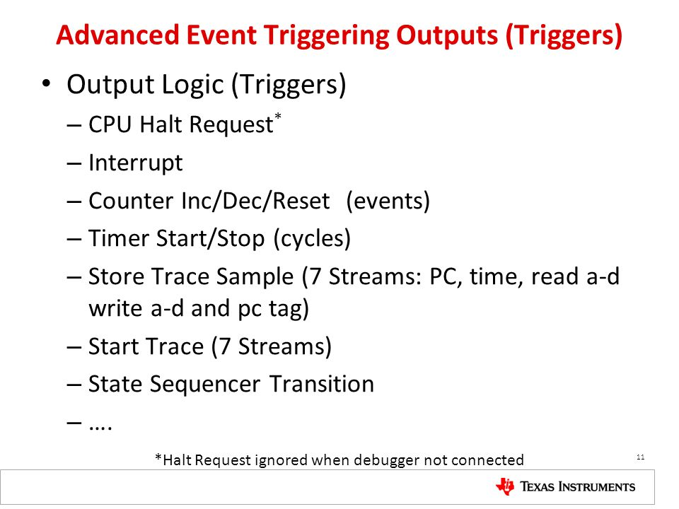 Advanced Event Triggering Outputs (Triggers)