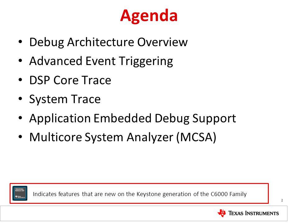 Agenda Debug Architecture Overview Advanced Event Triggering