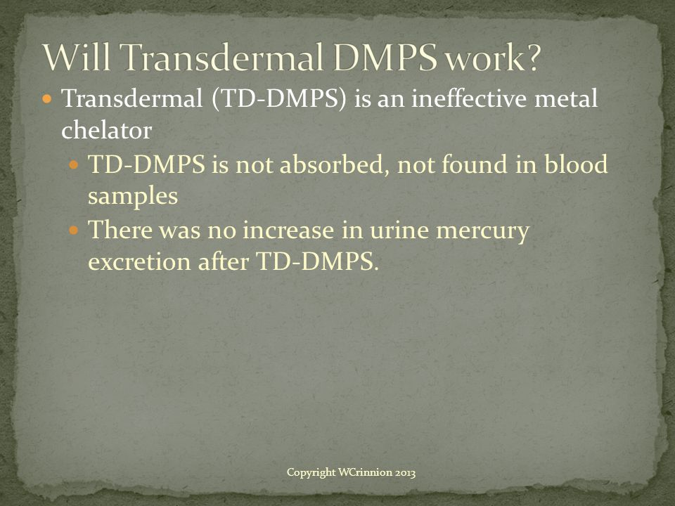 Will Transdermal DMPS work
