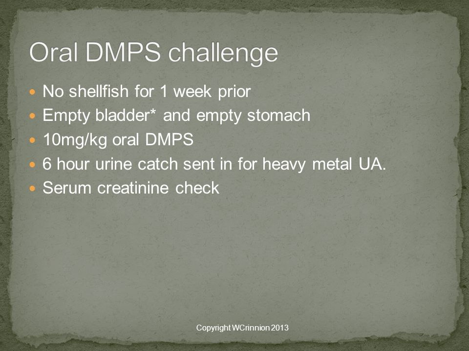 Oral DMPS challenge No shellfish for 1 week prior