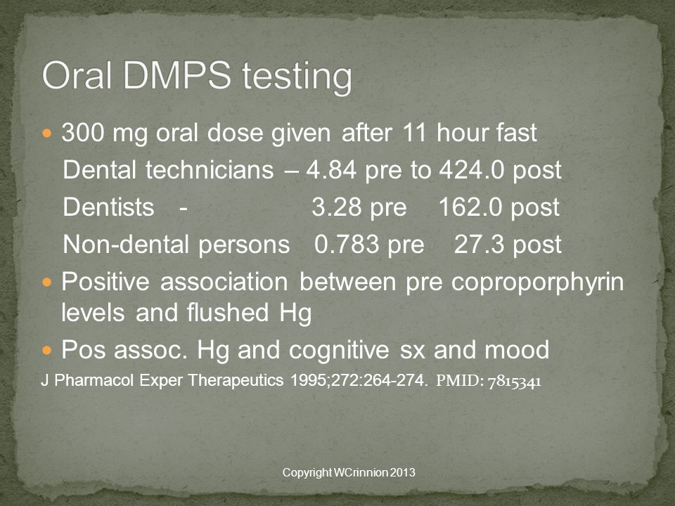 Oral DMPS testing 300 mg oral dose given after 11 hour fast