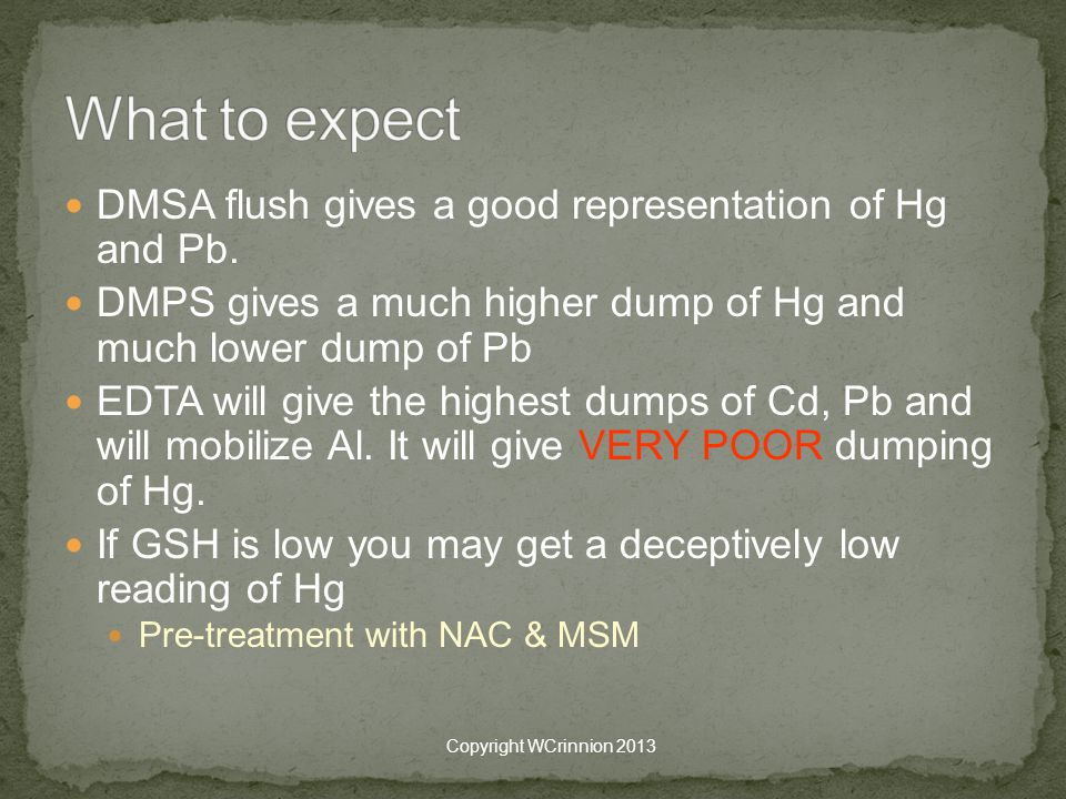 What to expect DMSA flush gives a good representation of Hg and Pb.