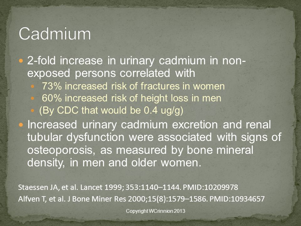 Cadmium 2-fold increase in urinary cadmium in non- exposed persons correlated with. 73% increased risk of fractures in women.