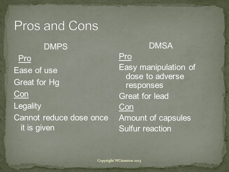 Pros and Cons DMPS Pro Ease of use Great for Hg Con Legality Cannot reduce dose once it is given