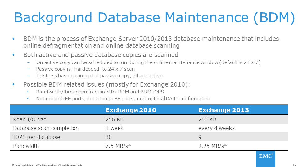 Background Database Maintenance (BDM)