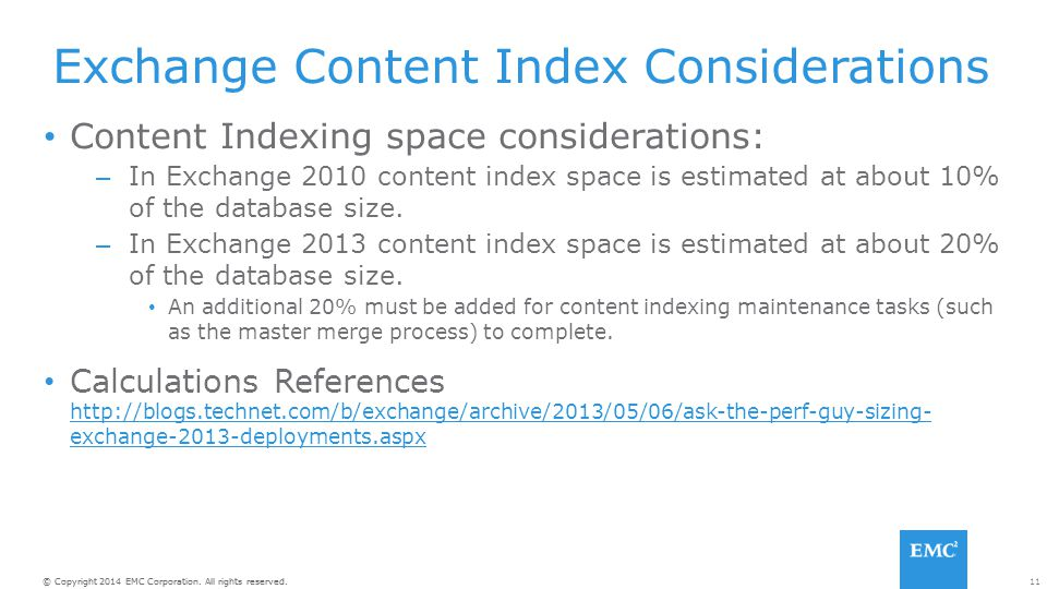 Exchange Content Index Considerations