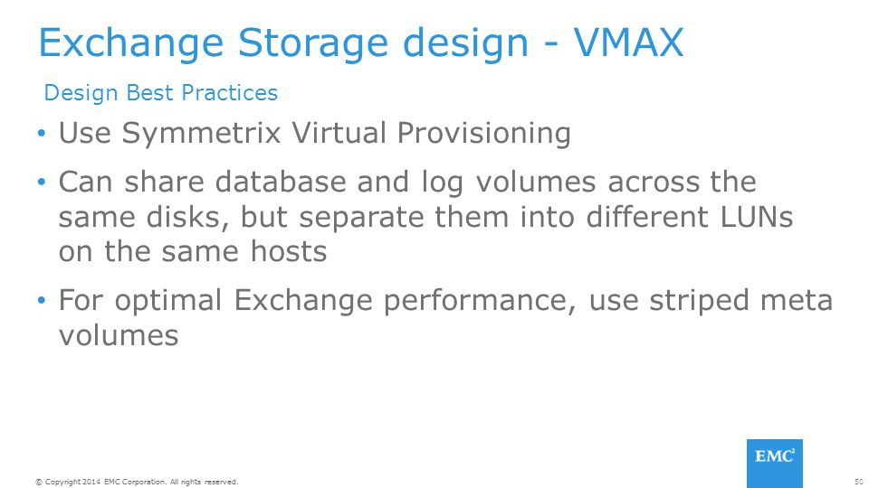 Exchange Storage design - VMAX