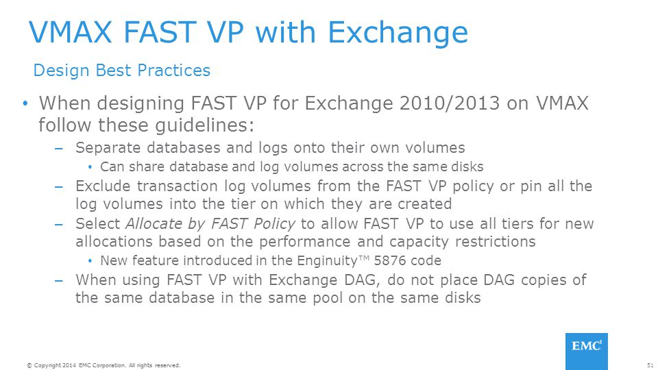 VMAX FAST VP with Exchange