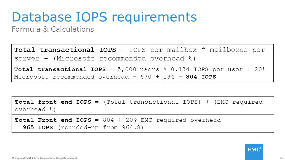 Database IOPS requirements