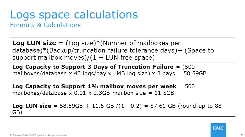 Logs space calculations