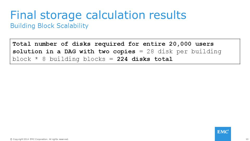 Final storage calculation results