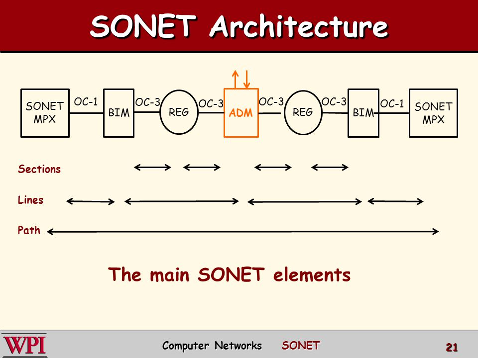 The main SONET elements Computer Networks SONET