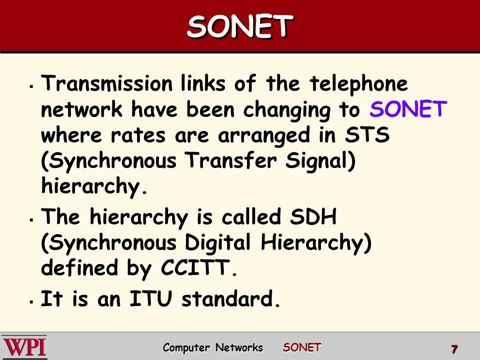 Computer Networks SONET
