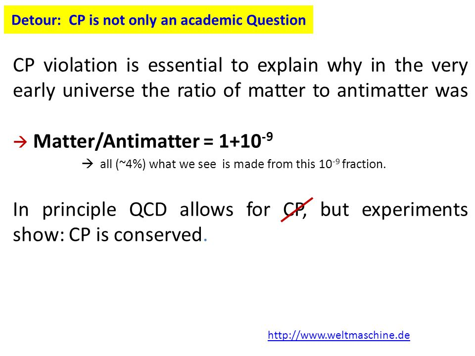Detour: CP is not only an academic Question