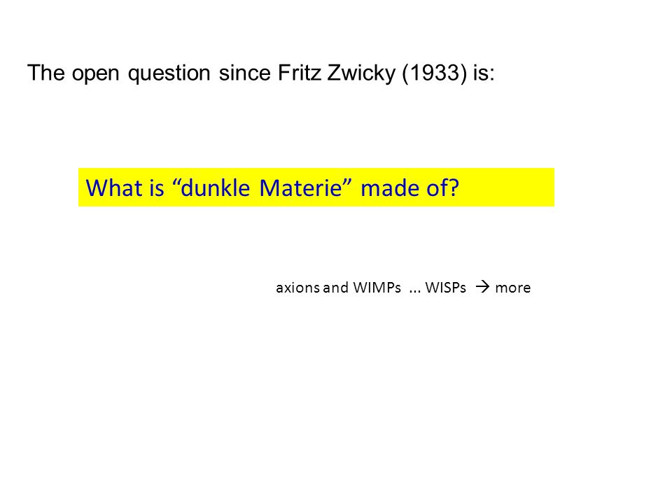 The open question since Fritz Zwicky (1933) is: