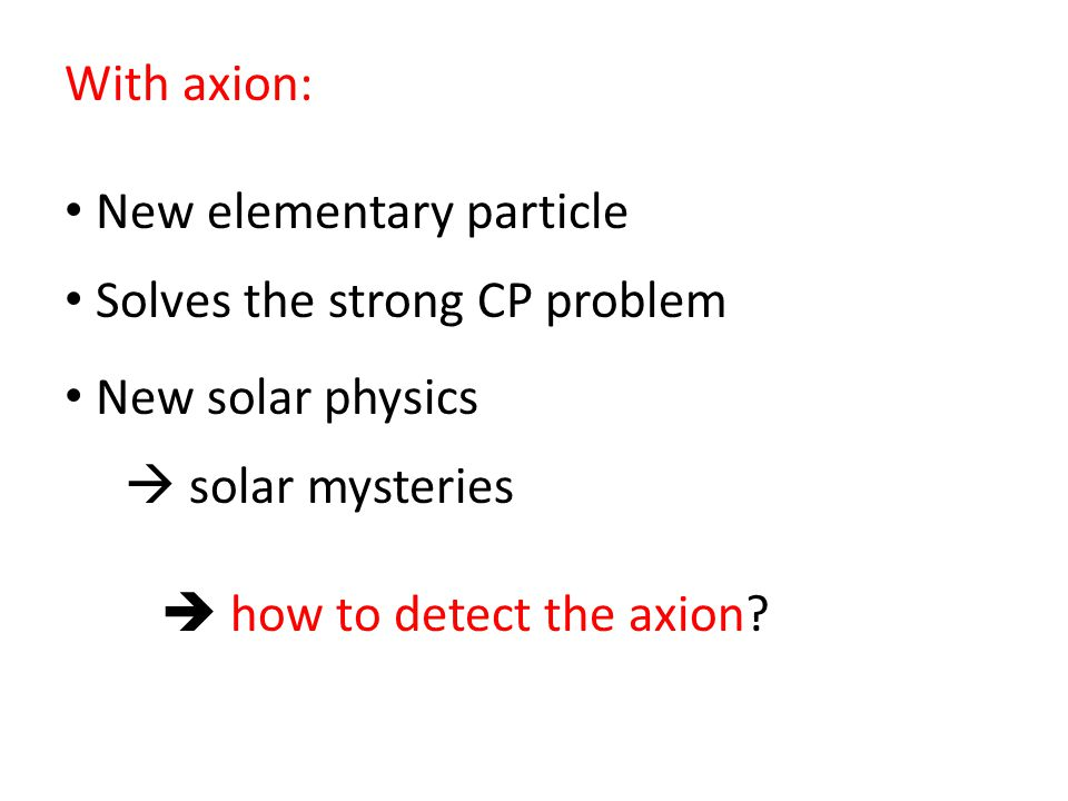 With axion: New elementary particle. Solves the strong CP problem. New solar physics.  solar mysteries.