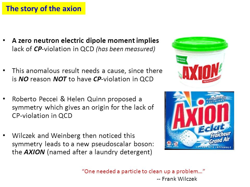 The story of the axion A zero neutron electric dipole moment implies lack of CP-violation in QCD (has been measured)