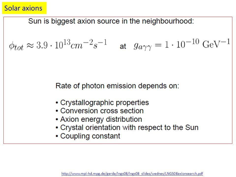 Solar axions http://www.mpi-hd.mpg.de/gerda/lngs08/lngs08_slides/wednes/LNGS08axionsearch.pdf