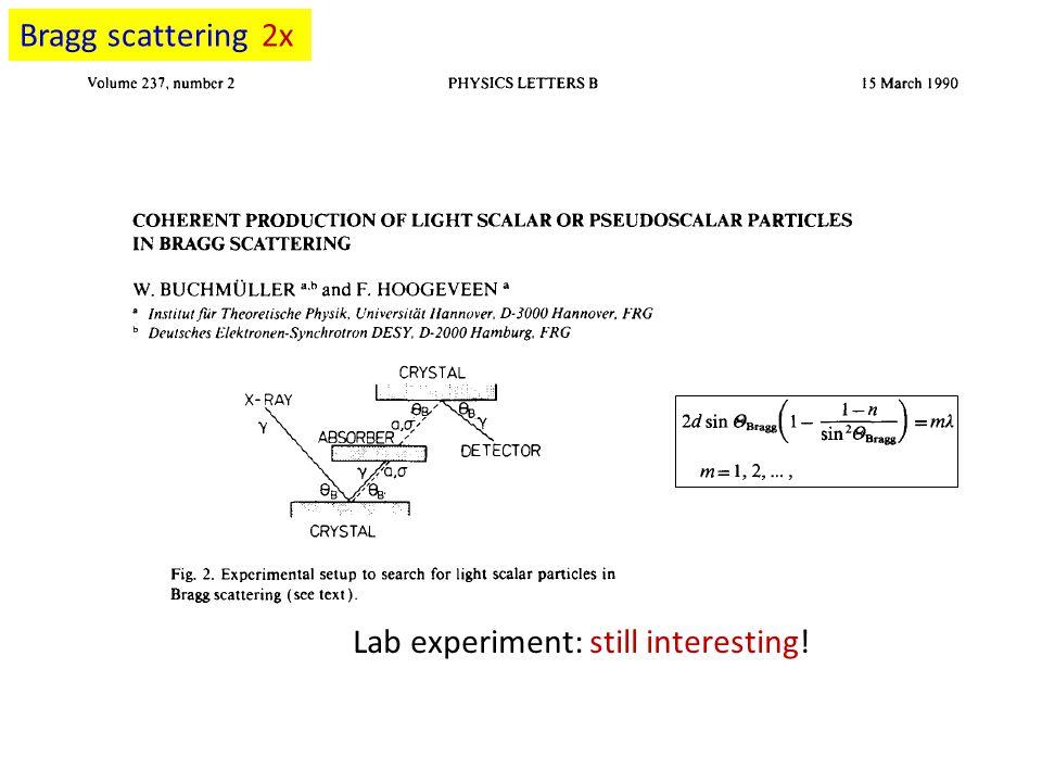 Bragg scattering 2x Lab experiment: still interesting!