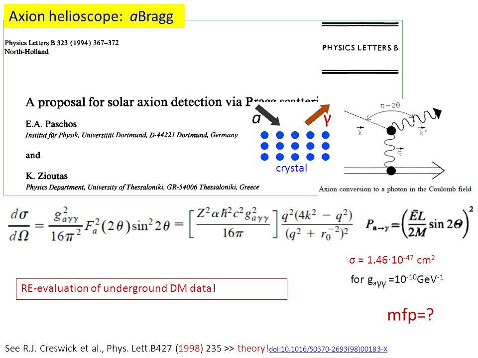 a γ mfp= Axion helioscope: aBragg axion crystal σ = 1.46·10-47 cm2