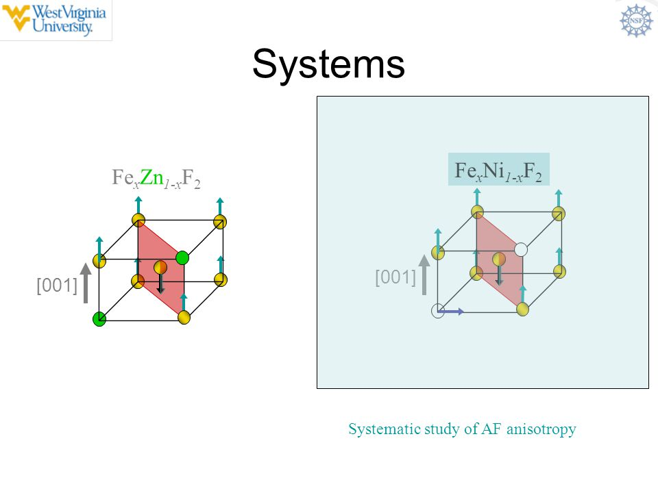 Systems FexNi1-xF2 FexZn1-xF2 Random anisotropy antiferromagnet