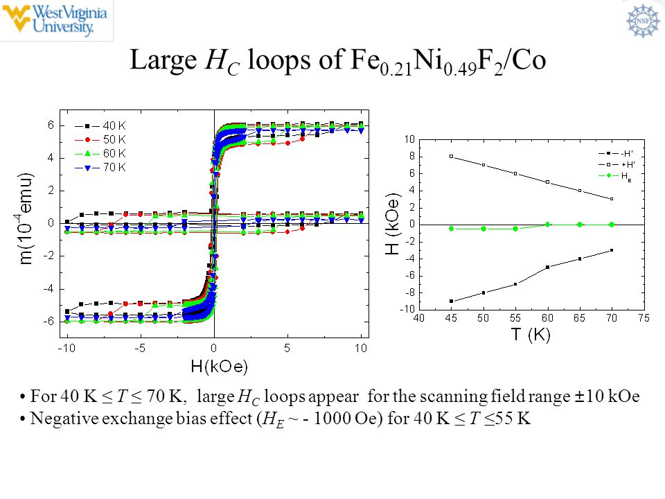 Large HC loops of Fe0.21Ni0.49F2/Co