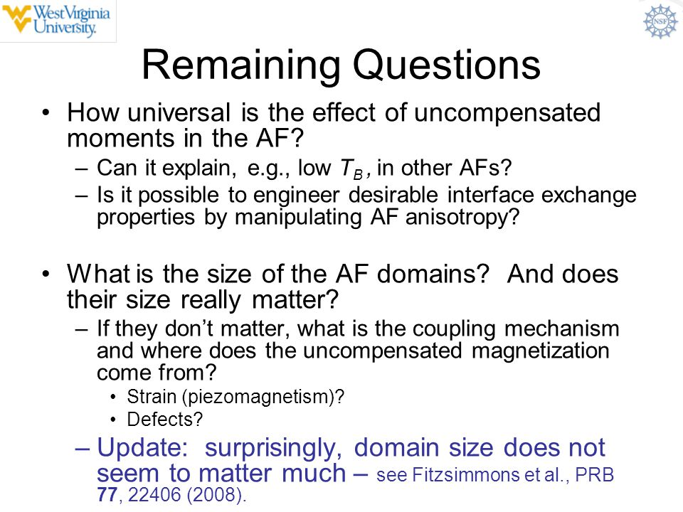 Remaining Questions How universal is the effect of uncompensated moments in the AF Can it explain, e.g., low TB , in other AFs