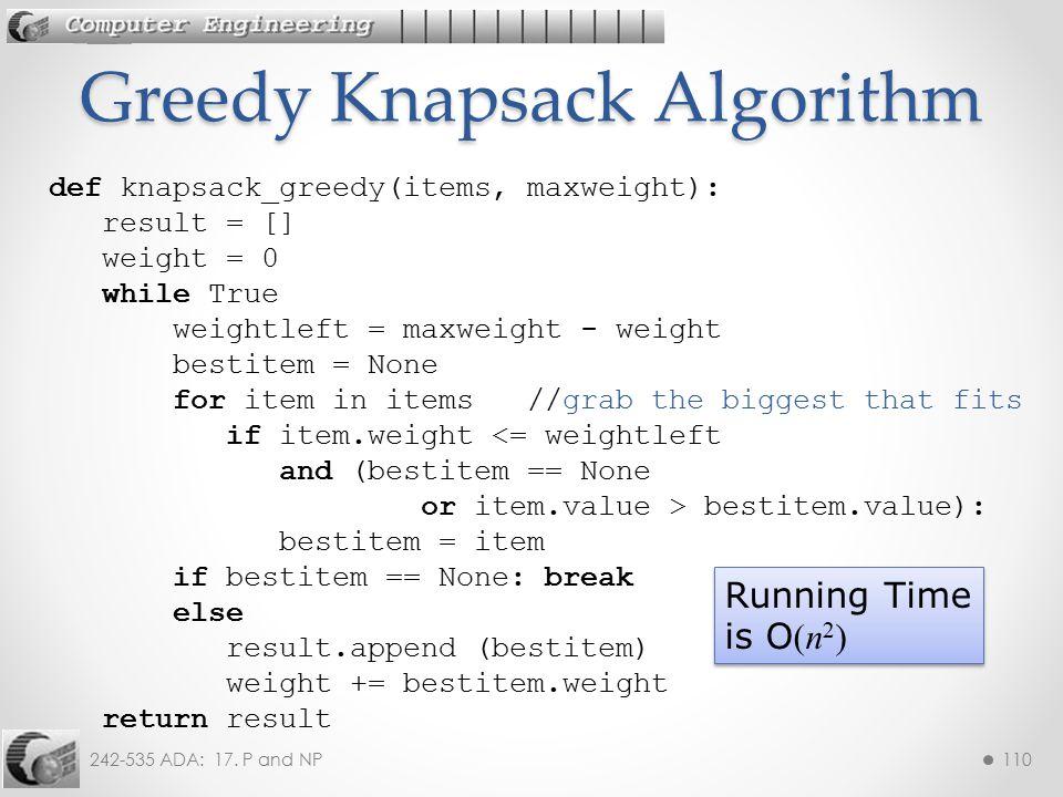 Greedy Knapsack Algorithm
