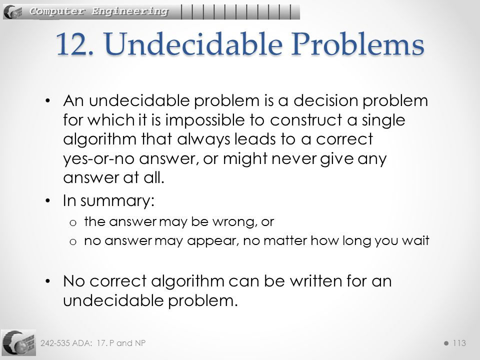 12. Undecidable Problems