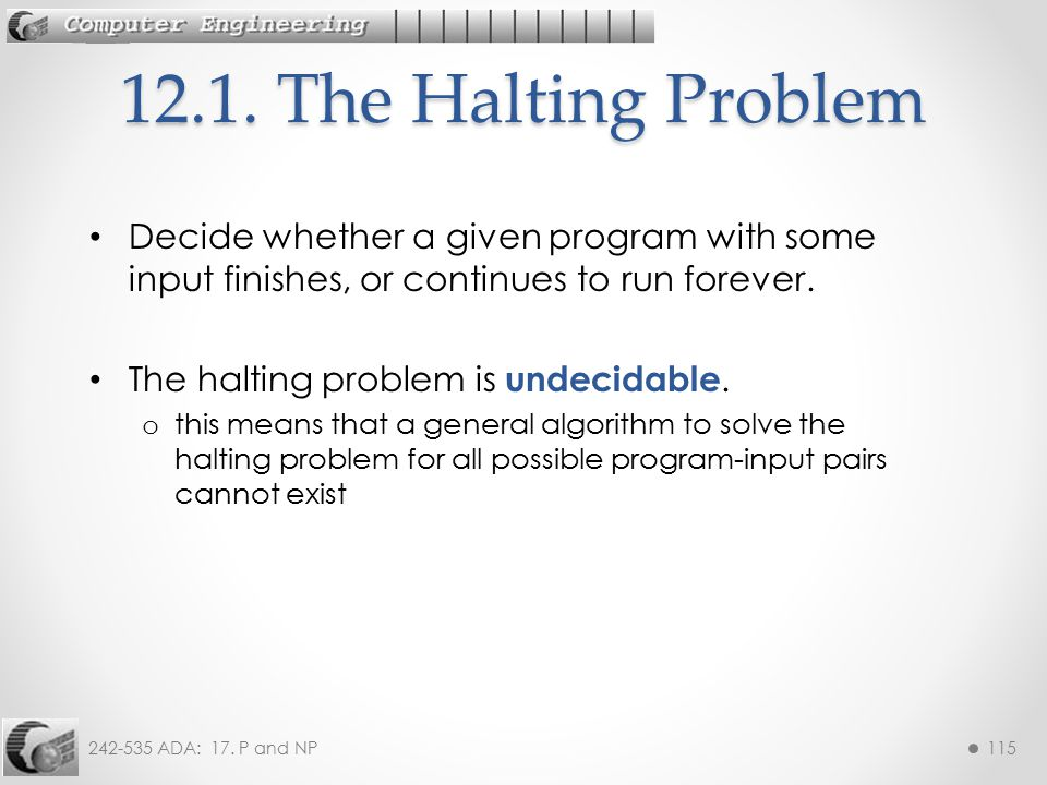 12.1. The Halting Problem Decide whether a given program with some input finishes, or continues to run forever.