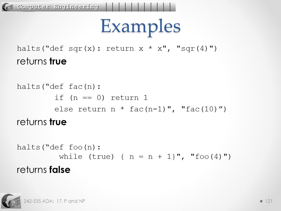 Examples returns true returns false