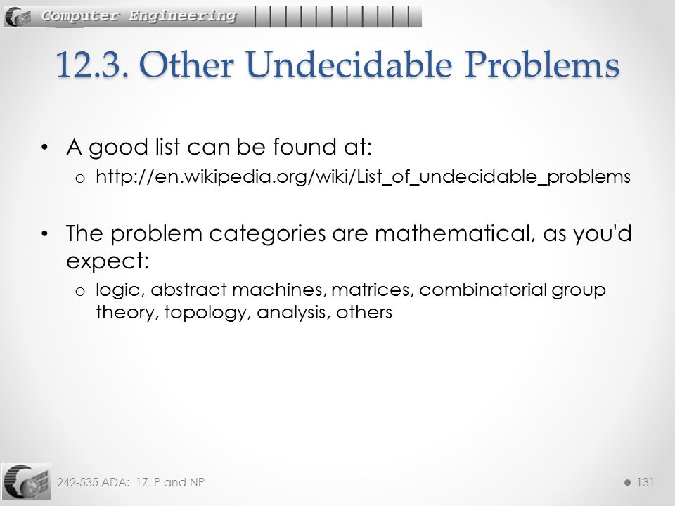 12.3. Other Undecidable Problems